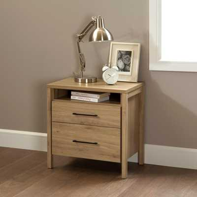 Gravity 2-Drawer Rustic Oak Nightstand - Home Depot