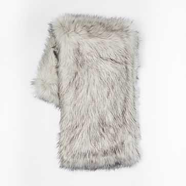 "Faux Fur Brushed Tips Throw, 47""x60"", Platinum - West Elm"