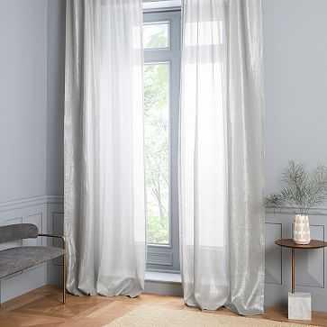 "Sheer Metallic Belgian Linen Curtain, Platinum, 48""x96"" - West Elm"