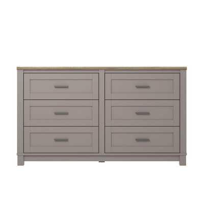 Viola Gray/Light Brown 6-Drawer Dresser - Home Depot