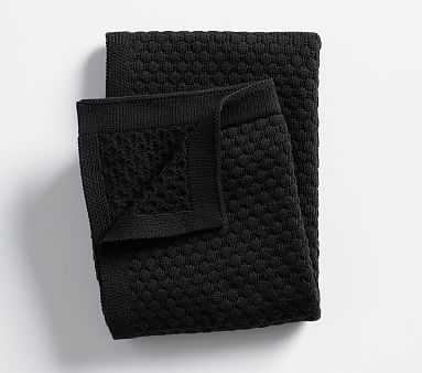 Hexagon Knit Baby Blanket, Black - Pottery Barn Kids