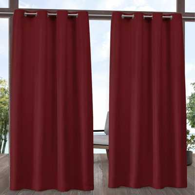 Exclusive Home Curtains Indoor/Outdoor Solid Cabana Grommet Top Curtain Panel Pair in Radiant Red - 54 in. W x 96 in. L (2-Panel) - Home Depot