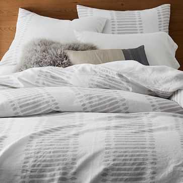 Belgian Flax Linen Ikat Stripe Duvet Cover, Full/Queen, Frost Gray - West Elm