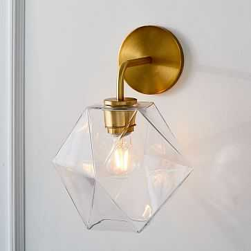 Sculptural Glass Sconce, Small Faceted, frosted Shade, Brass Canopy - ELKLIGHTING