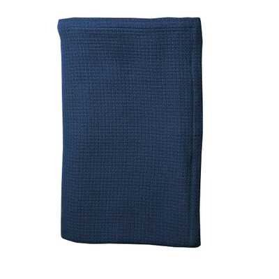 True Navy Cotton Weave Blanket and Throw, Blues - Home Depot