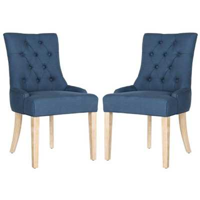 Abby Steel Blue/White Wash Viscose-Poly Chair (2-Pack) - Home Depot