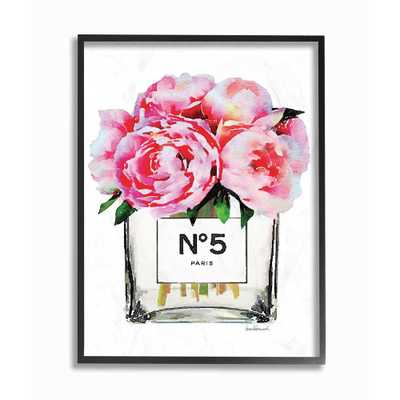 """Stupell Industries 11 in. x 14 in. """"Glam Paris Vase with Pink Peony"""" by Amanda Greenwood Wood Framed Wall Art, Multi-Colored - Home Depot"""