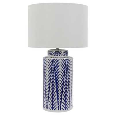 Decor Therapy 27 in. Ceramic Indoor LED Blue and White Table Lamp with Shade - Home Depot