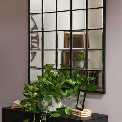 Square Black Metallic Window Pane Wall Mirror - Home Depot