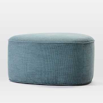 Pebble Ottoman, Large, Basket Slub, Blue Stone - West Elm