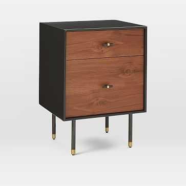 Modernist Wood + Lacquer Storage Nightstand, Anthracite, Walnut - West Elm