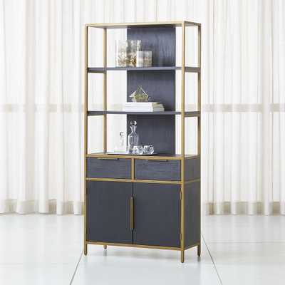 Oxford Wide Storage Black Wood Bookcase - Crate and Barrel