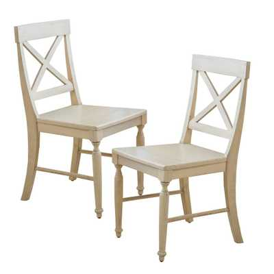 Rovie Antique White Acacia Wood Dining Chairs (Set of 2) - Home Depot