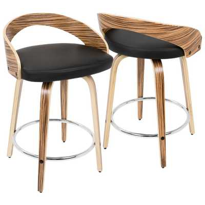 Grotto Zebra Wood and Black Swivel Counter Stool - Home Depot