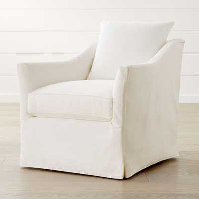 Keely Slipcovered Swivel Chair - Crate and Barrel