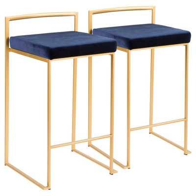 Fuji 26 in. Gold Stackable Counter Stool with Blue Velvet Cushion (Set of 2), Blue Velvet/Gold - Home Depot