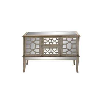 Champagne Silver Retro Modern Mirrored Glass Buffet Cabinet, Gray - Home Depot