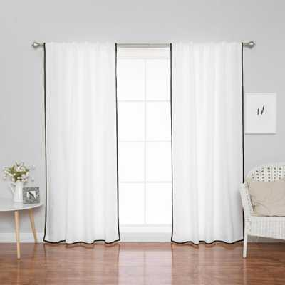 Best Home Fashion 96 in. L Polyester Oxford Thin Black Border Curtains in White (2-Pack) - Home Depot
