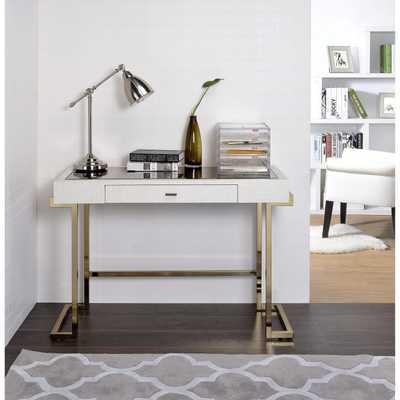 Mirror Top Writing Desk, White & Gold: White Finish - White - White Finish - eBay