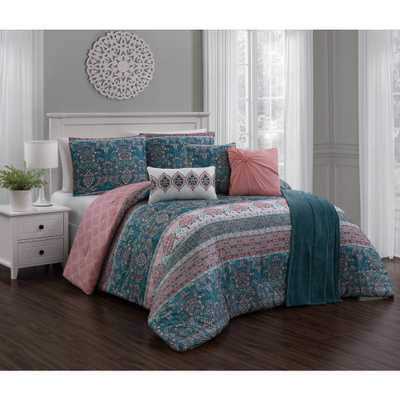 Belladonna 7-Piece Teal/Pink (Blue/Pink) Queen Comforter w/ Throw - Home Depot