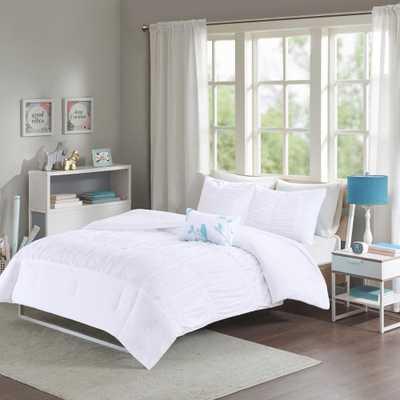 Tatiana 4-Piece White Full/Queen Solid Comforter Set - Home Depot