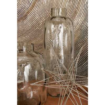17 in. New Traditional Smoky Gray Glass Decorative Vase - Home Depot