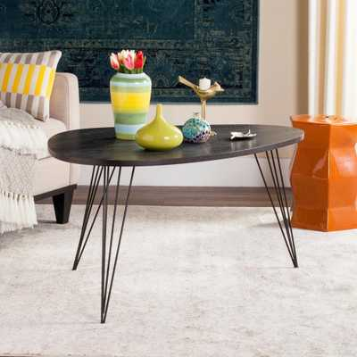 Rocco Retro Mid Century Wood Black Coffee Table - Home Depot