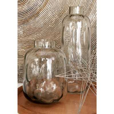 11 in. New Traditional Smoky Gray Glass Decorative Vase - Home Depot