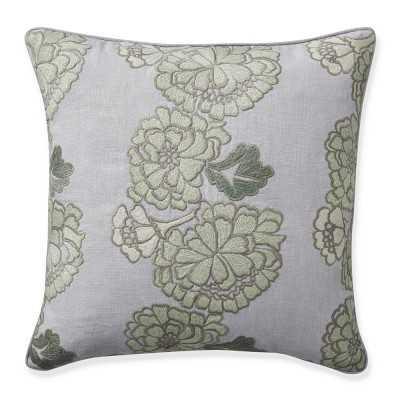 "AERIN Stenciled Floral Pillow Cover, 22"" X 22"", Dove Blue - Williams Sonoma"