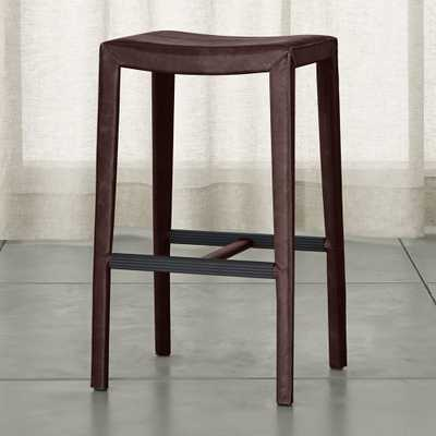 Folio Merlot Top-Grain Leather Backless Bar Stool - Crate and Barrel