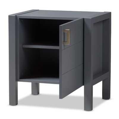 Mandel 1-Door Gray Nightstand - Home Depot