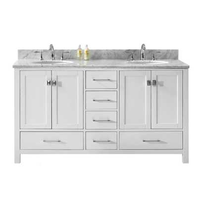 Virtu USA Caroline Avenue 60 in. W x 22 in. D Double Vanity in White with Marble Vanity Top in White with White Basin - Home Depot