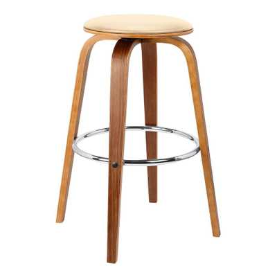Harbor 26 in. Cream Faux Leather Mid-Century Swivel Counter Height Backless Barstool with Walnut (Brown) Veneer - Home Depot