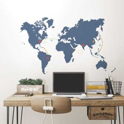 48 in. x 72 in. Blue Destination World Map Wall Art Kit - Home Depot