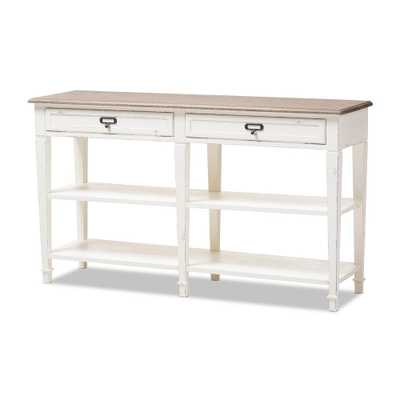 Dauphine White Console Table, White/Natural - Home Depot