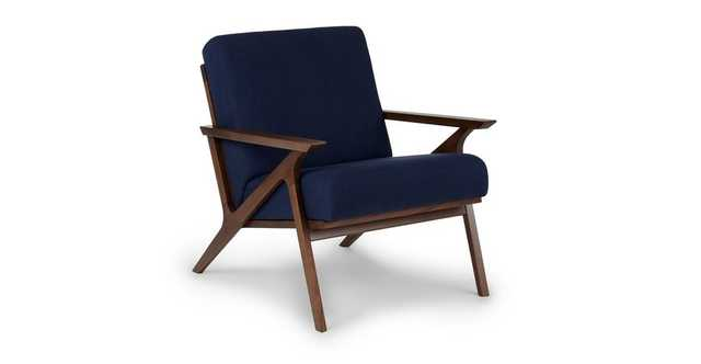 Otio Oceano Blue Walnut Lounge Chair - Article
