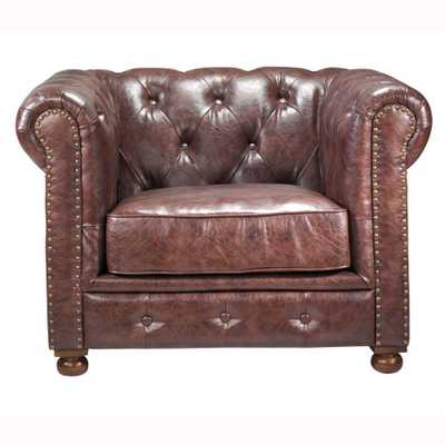 Gordon Brown Leather Arm Chair - Home Depot