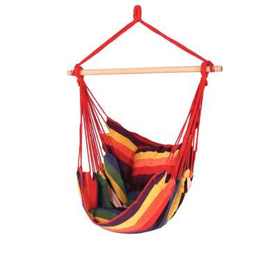 Sunnydaze Decor 3.5 ft. Fabric Hanging Hammock Swing with Two Cushions in Sunset - Home Depot