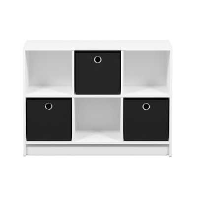 Basic White/Black 6-Cube Bookcase with Storage Bins - Home Depot