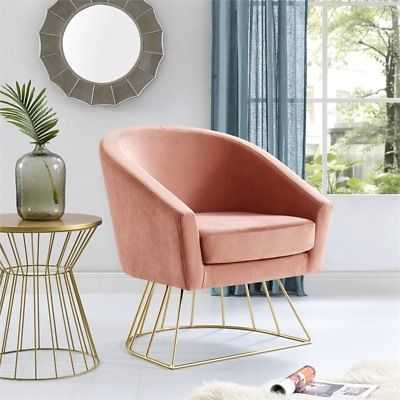Leo Blush Velvet Accent Chair - Gold Metal Base - Barrel - Tufted - eBay