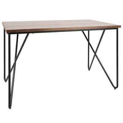 Walnut and Black Loft Industrial Desk, Brown/Black - Home Depot