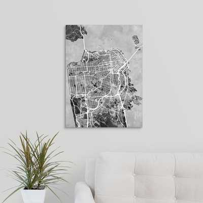 San Francisco City Street Map, Black and White by Michael Tompsett Canvas Wall Art, Multi-Color - Home Depot