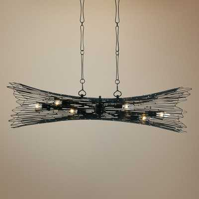 "Varaluz Rikki 40"" Wide Carbon and Aged Gold Island Pendant - Style # 69P65 - Lamps Plus"