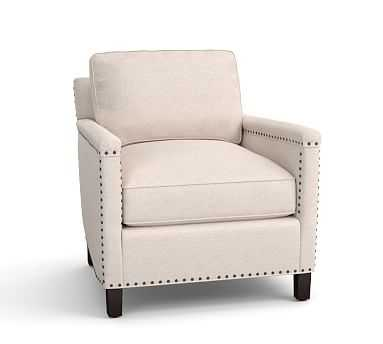 Tyler Upholstered Armchair with Bronze Nailheads, Down Blend Wrapped Cushions, Performance Heathered Tweed Ivory - Pottery Barn