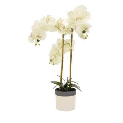Faux Orchid Flower Pot - Home Depot