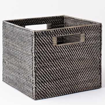 Modern Weave Collection, Blackwash, Storage Bin - West Elm