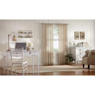 Home Decorators Collection Semi-Opaque Taupe (Brown) Faux Linen Polyester Back Tab Curtain - 95 in. L x 50 in. W - Home Depot