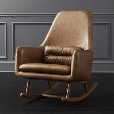 SAIC Quantam Cognac Leather Rocking Chair - CB2
