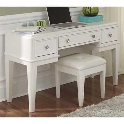 Bowery Hill 2 Piece Bedroom Vanity Set in White - eBay