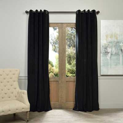 Exclusive Fabrics & Furnishings Blackout Signature Warm Black Grommet Blackout Velvet Curtain - 50 in. W x 96 in. L (1 Panel) - Home Depot